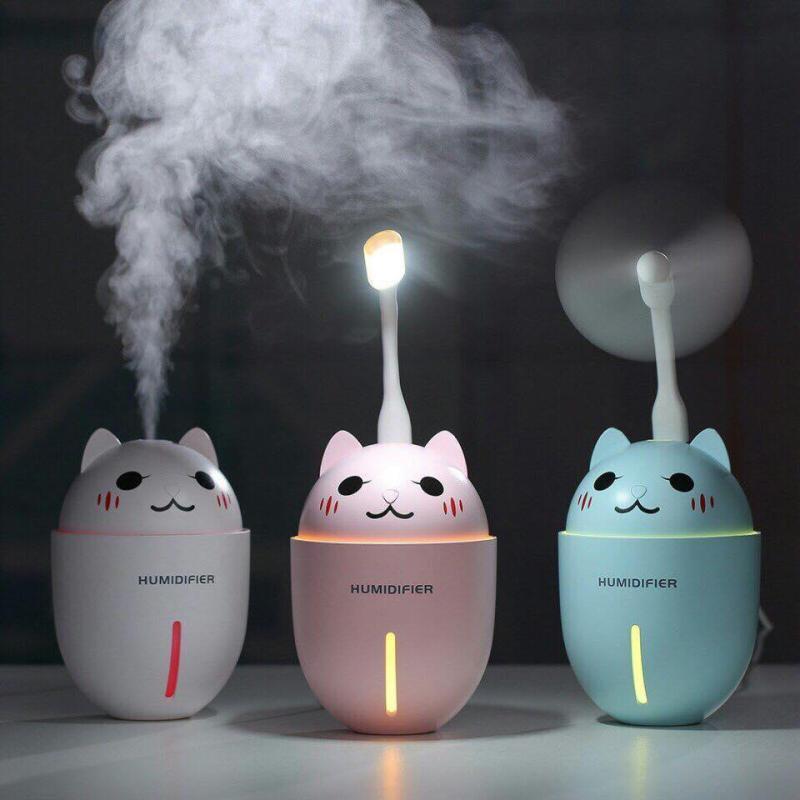 Bảng giá Máy phun sương tạo ẩm cao cấp  3in1 kiêm quạt USB và đèn led hình mèo con đáng yêu