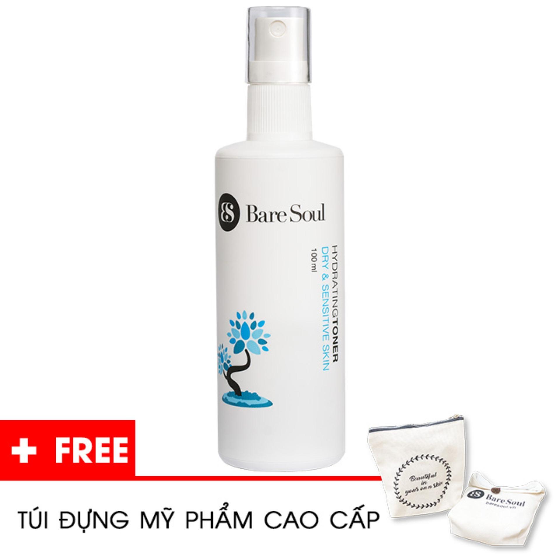 Nước hoa hồng nuôi dưỡng BareSoul – Da khô & da nhạy cảm full-size 100ml – Hàng chính hãng – Hydrating Toner Dry & Sensitive Skin + Tặng túi mỹ phẩm cao cấp