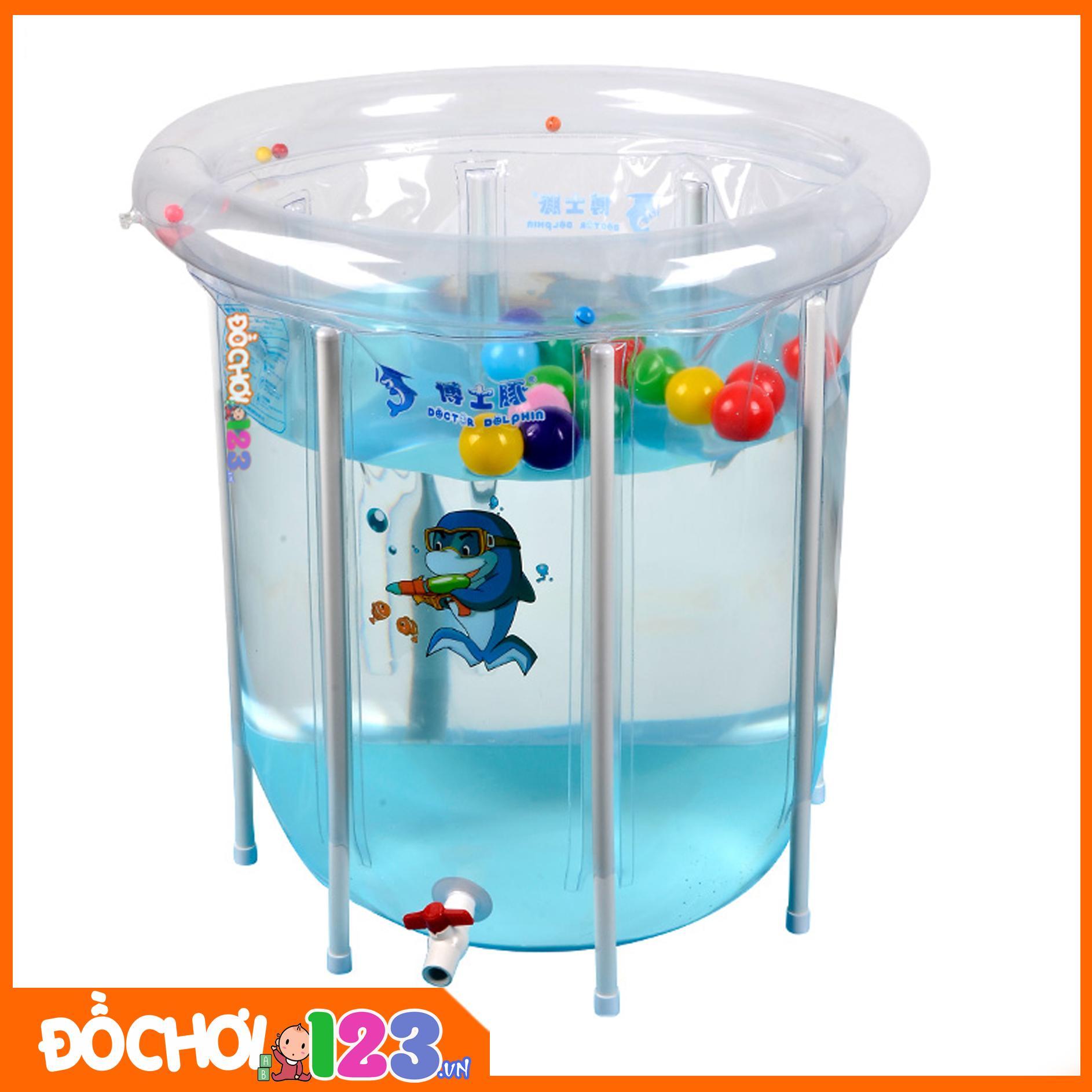 Hình ảnh Bể bơi phao thành cao trong suốt Doctor Dolphin 80x80cm + Tặng phao cổ