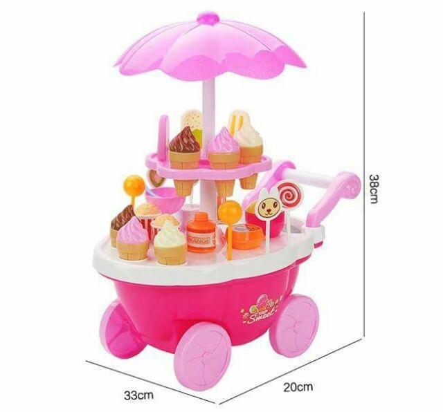 Hình ảnh Bộ đồ chơi xe đẩy bánh kem 2 tầng có phát nhạc và đèn cho bé