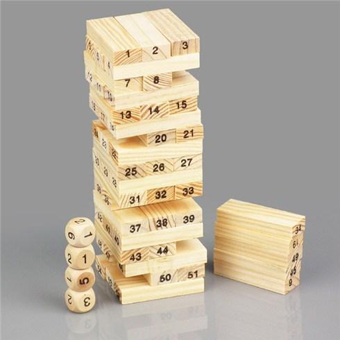 Hình ảnh BỘ ĐỒ CHƠI RÚT GỖ WISS TOY (Gồm 54 thanh gỗ và 4 xúc xắc)