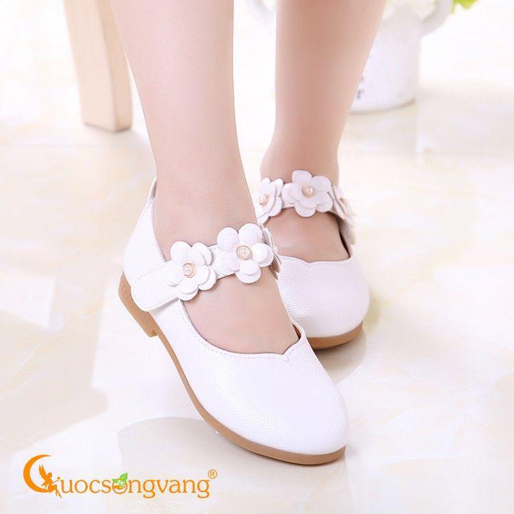 Giày bé gái quai dán giày búp bê bé gái quai hoa màu trắng GLG018