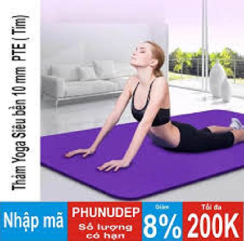Hình ảnh Thảm tập Yoga siêu bền loại dày 10mm TPE (Tím) dày dài kích thước 1m80 x 61cm x 10cm ( CÓ TÚI ĐỰNG )