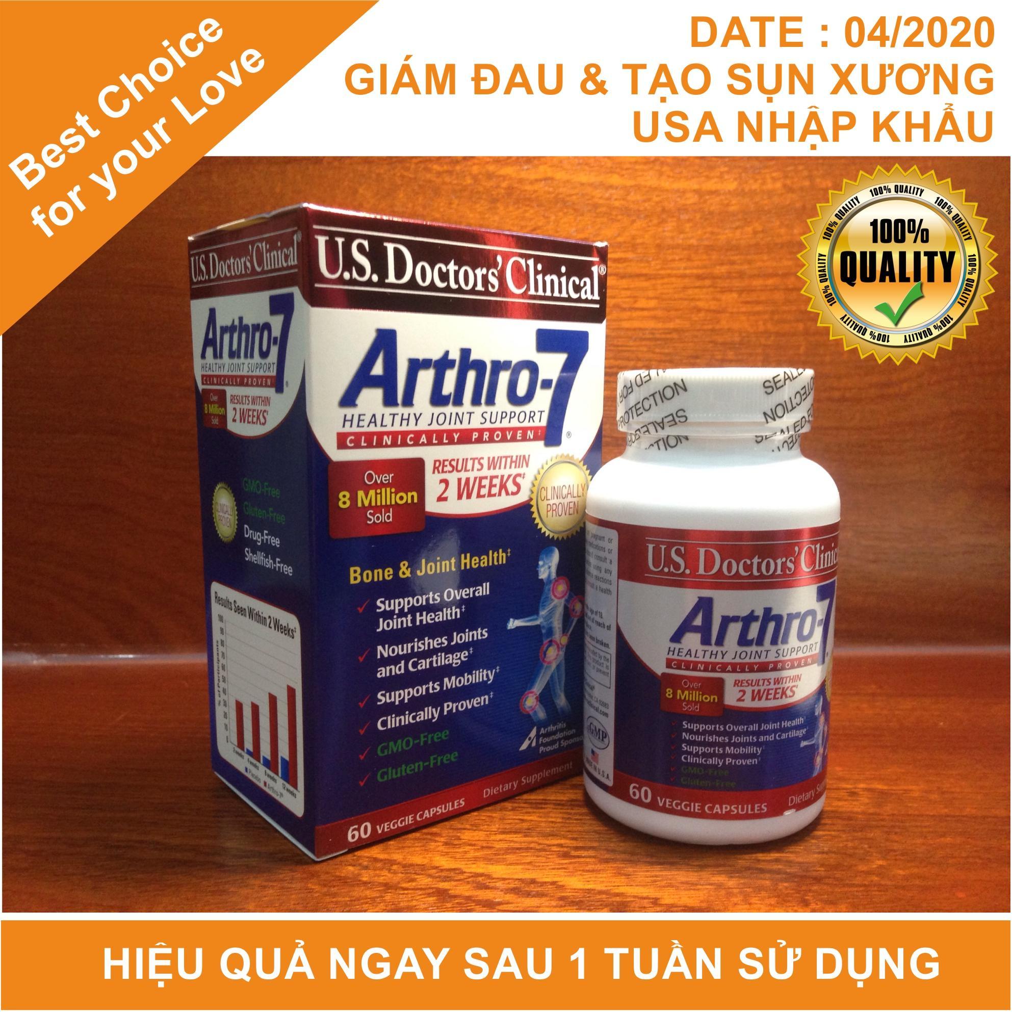 Arthro-7 (date 2020, USA) giảm đau xương khớp, tạo sụn hiệu quả ngay sau 1 tuần sử dụng
