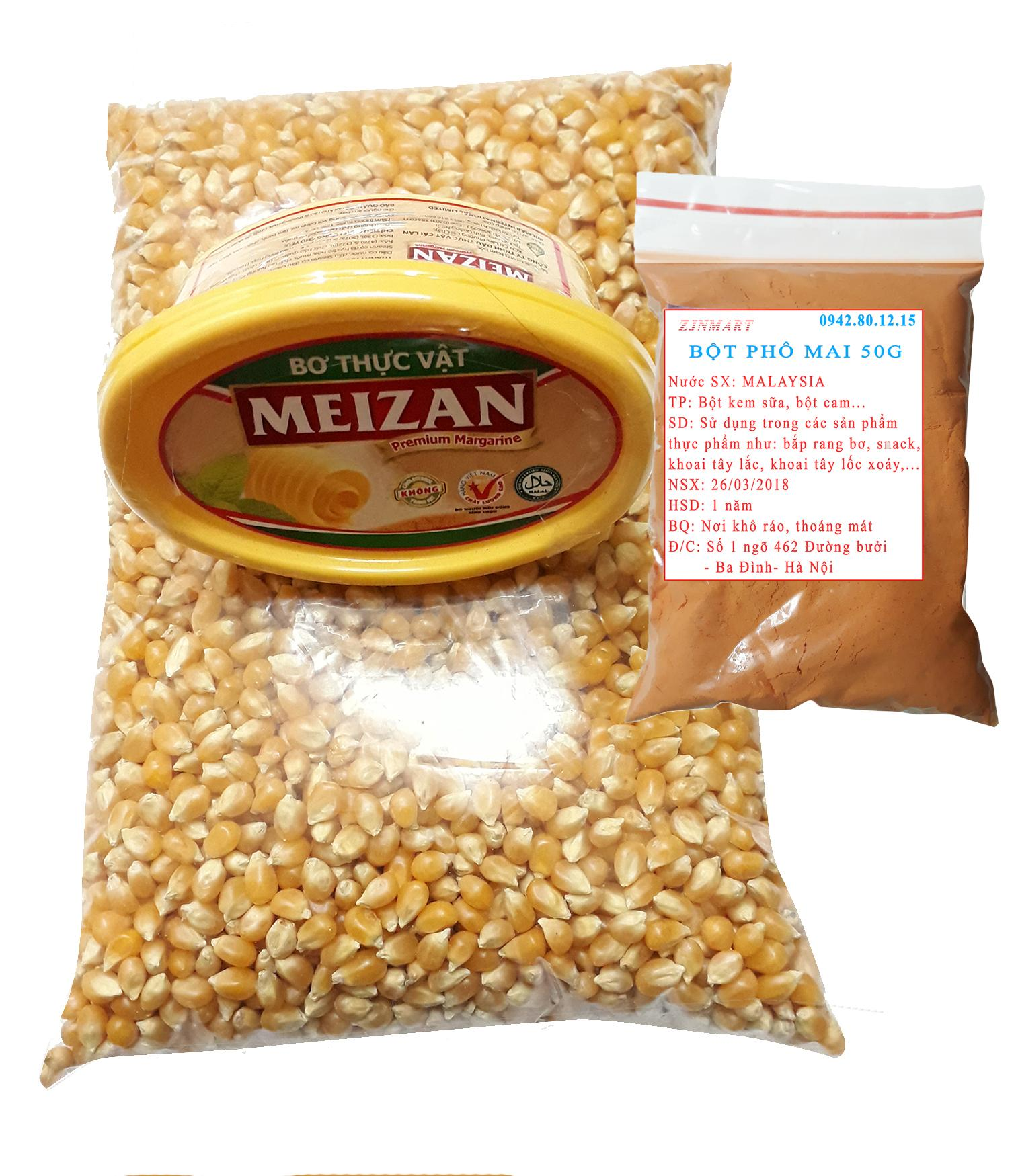 Hình ảnh Ngô mỹ 1kg+ bơ meizan 80g + 50g Phô mai bột nổ bắp rang bơ tại nhà