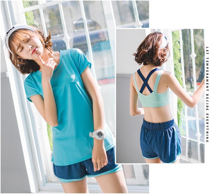 Hình ảnh set quần áo thể thao 3 món áo phông + quần đùi +áo lót ( đồ tập gym, yoga ) hàng nhập khẩu