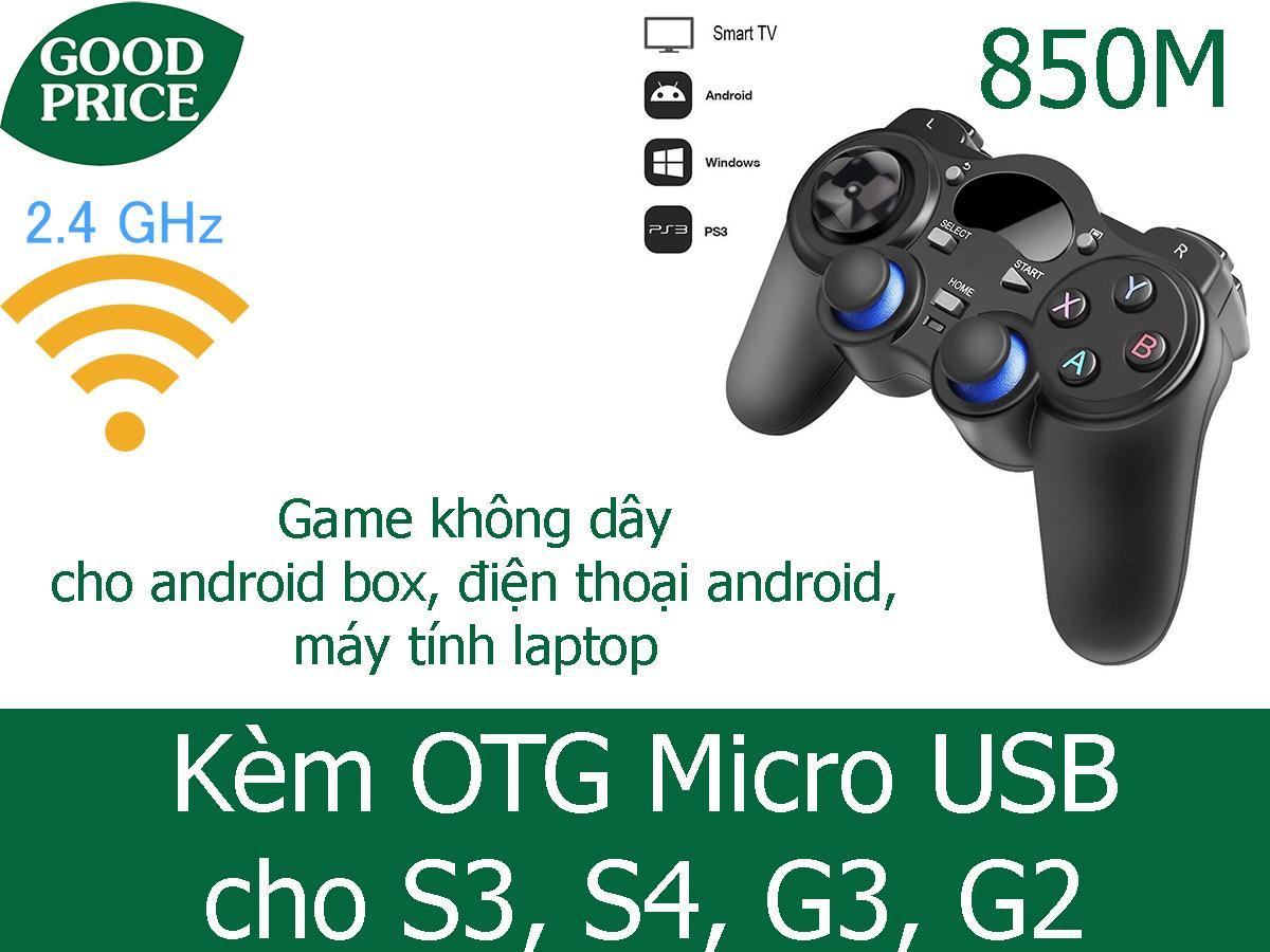 Tay cầm chơi game không dây 2.4Ghz 850M + otg android cho điện thoại kết nối dễ dáng với các thiết bị