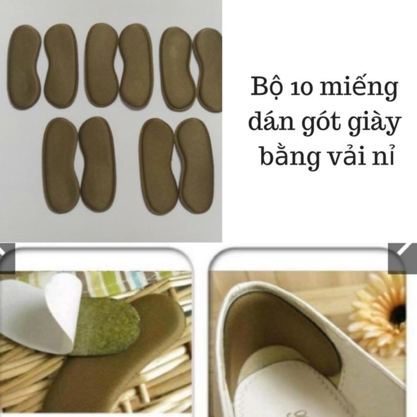 Combo 10 miếng Lót gót giàyvải nỉ giảm đau gót giá rẻ