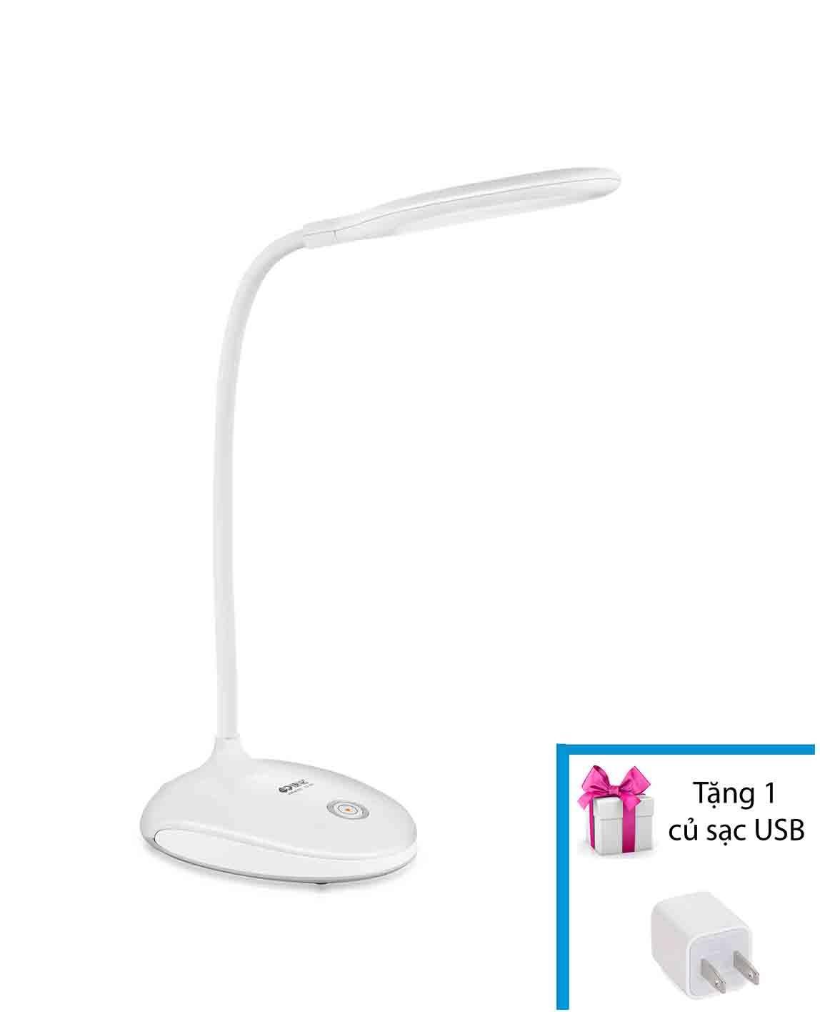 Đèn LED để bàn học tập, làm việc siêu sáng tích điện MDtek KM-6701 + Tặng 1 củ sạc USB
