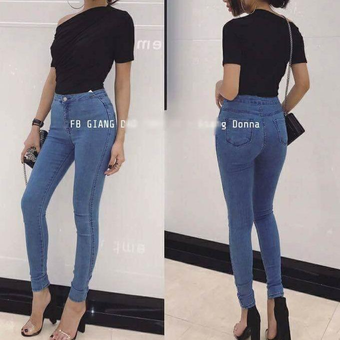 Quần Nữ Quần Jeans Nữ Lưng Cao Ton Dang Mau Xanh Nhạt Oem Chiết Khấu 30