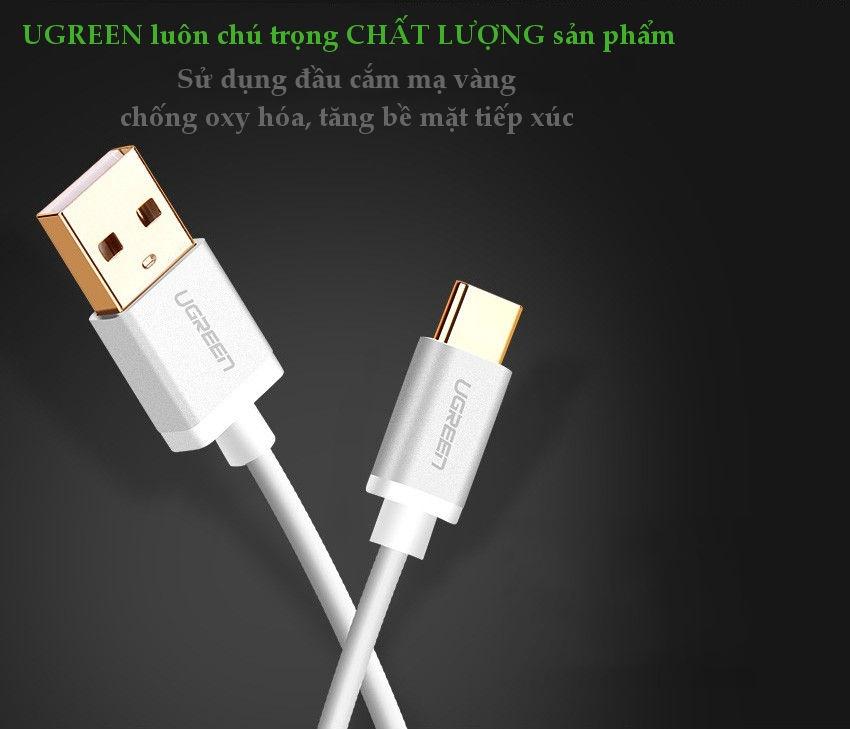 Dây cáp chuyển đổi USB 2.0 sang USB Type C, dài từ 0.25-2M UGREEN US188