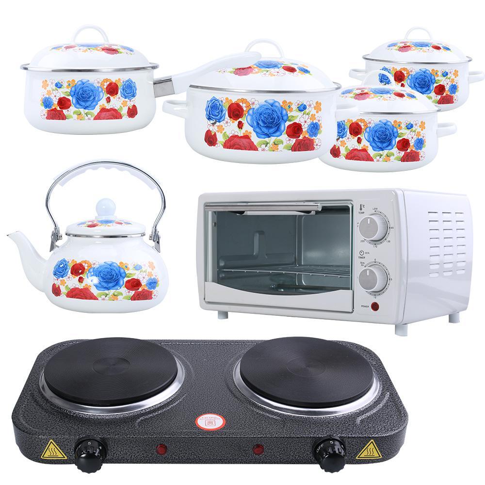 Hình ảnh Pansy-Bộ nhà bếp giá sốc (Bếp điện đôi + Bộ 5 nồi quánh ấm tráng men + Lò nướng 10 lít).
