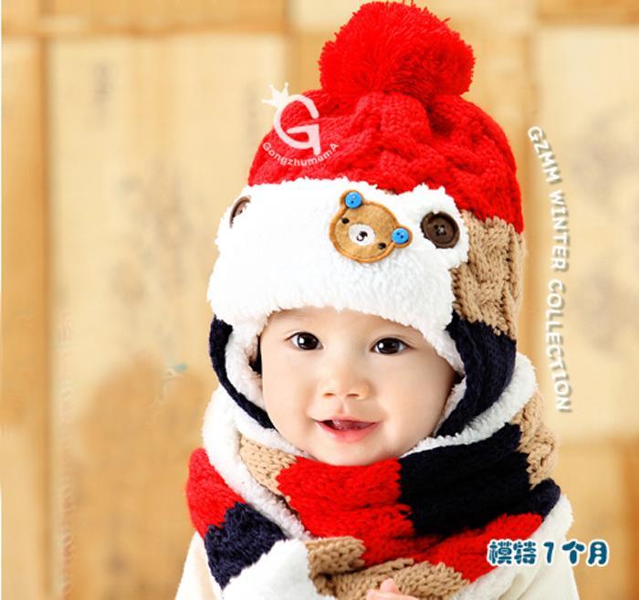 Bộ khăn mũ nón len trẻ em gấu 3 màu ML32 ( Xả Hàng )