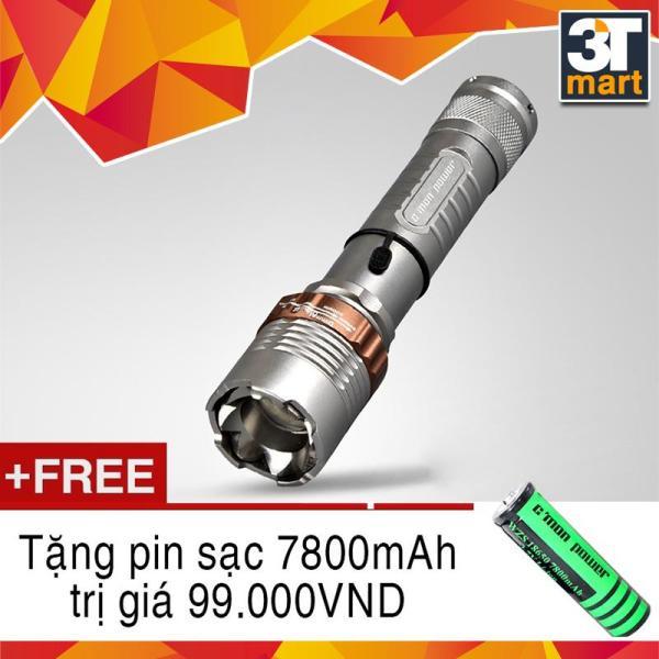 Bảng giá Đèn pin CMON POWER DEFEND T6 LED 10W 2000lm chiếu xa 500m + Tặng 1 pin sạc li-ion 18650
