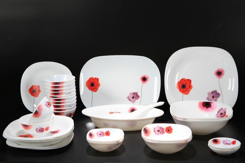 Bộ 30 món đồ dùng bàn ăn thủy tinh ngọc Vitriares 805-30V (Đỏ)