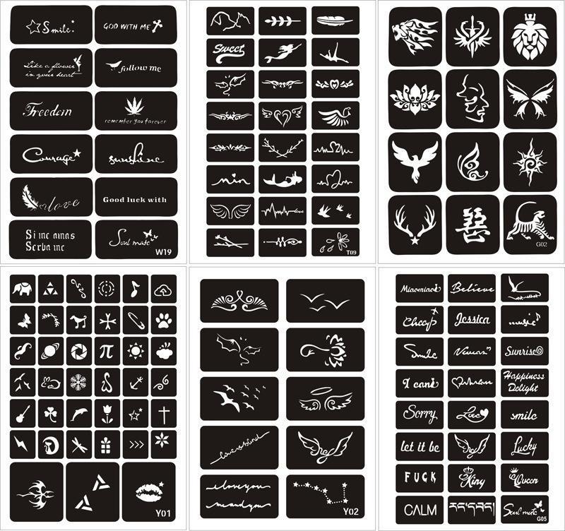 Combo 25 miếng khung vẽ henna cao cấp