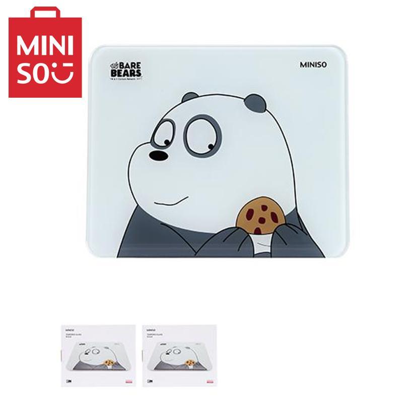 Cân sức khỏe mặt kính cường lực Miniso hình gấu Panda (Trắng xám) nhập khẩu