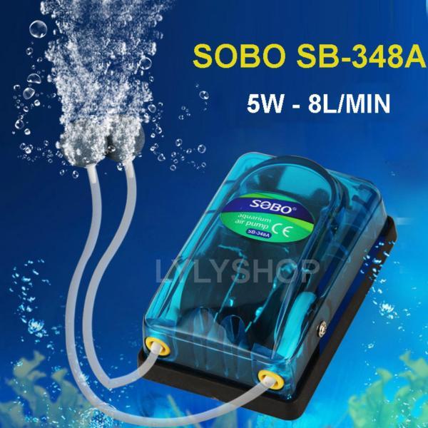 Máy sủi oxy cho bể cá miniSB-348A ( 5W - 8L/PHÚT)  cung cấp oxy cho hồ thúy sinh. BH uy tín, 1 đổi 1