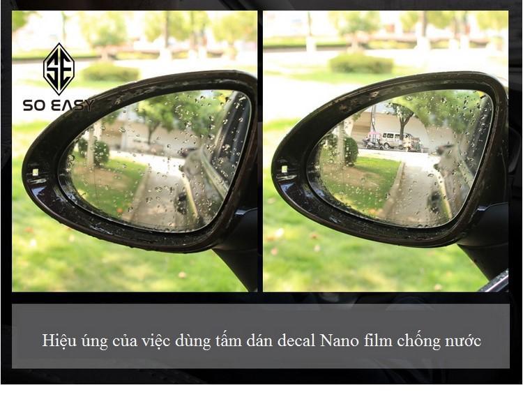 2 Miếng dán NANO film chống nước, chống sương, chống mờ, chống chói nắng gương, kính mô tô, xe hơi, xe ôtô, xe tải_ SF012