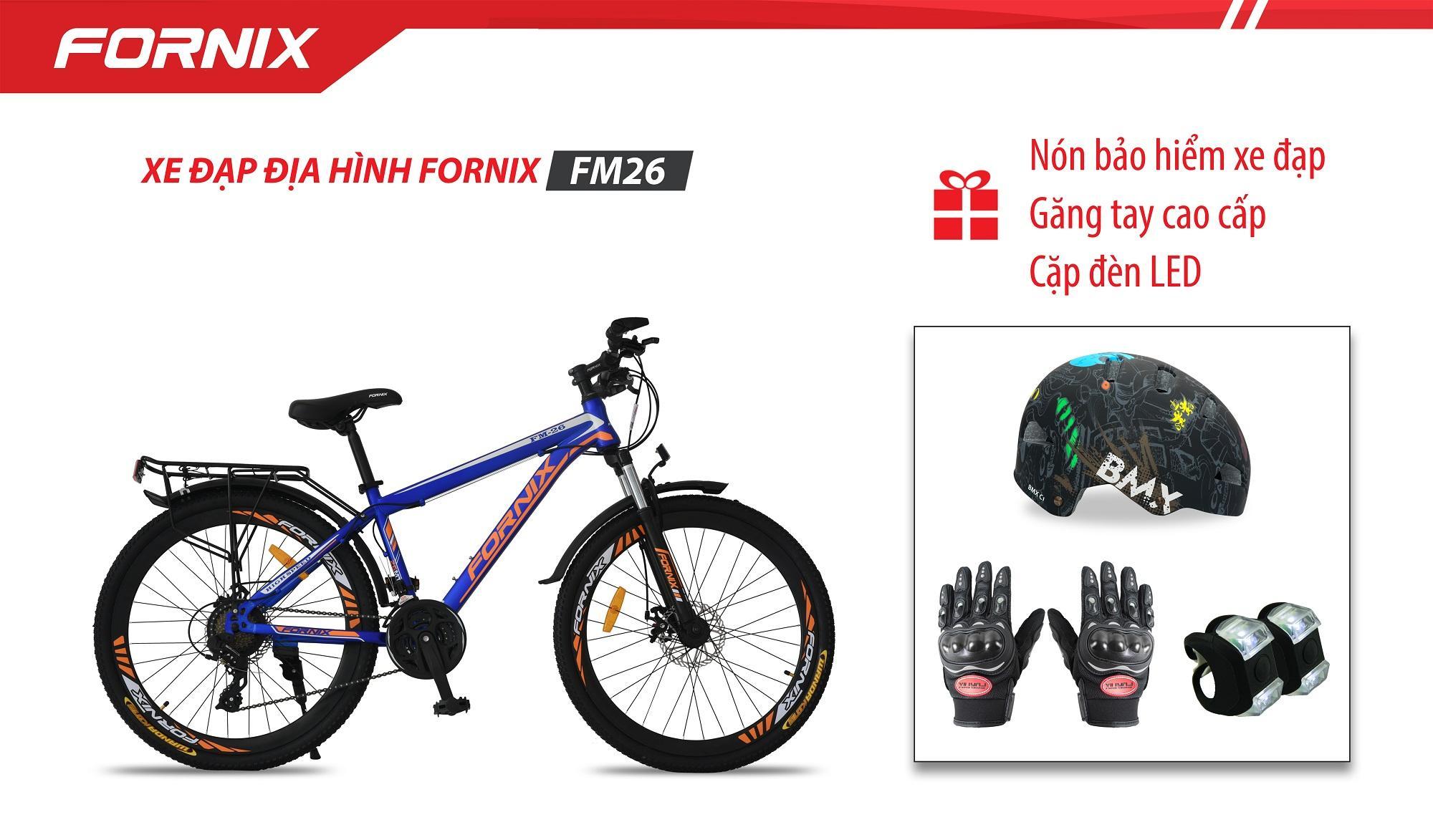 Xe đạp địa hình thể thao Fornix FM26 + (Gift) Cặp đèn LED, Nón Bảo Hiểm A02NC1, Găng Tay