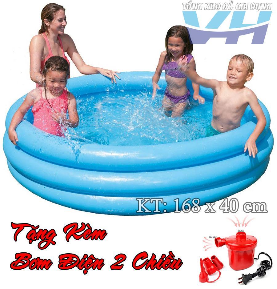 Bể bơi cho trẻ nhỏ Intex 58446 3 tầng 168x40 cm + Bơm điện 2 chiều