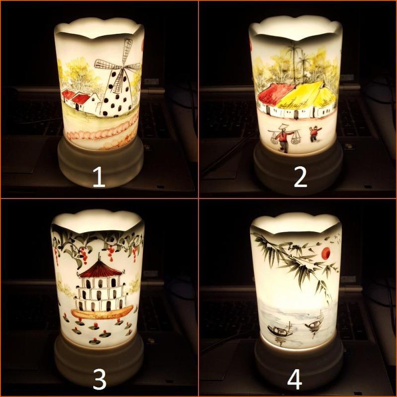 Đèn xông tinh dầu sứ Bát Tràng hình Ống cỡ TO 9 x 16,5cm / Đuổi muỗi Diệt muỗi Đèn trang trí