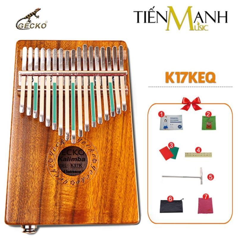 Đàn Kalimba Gecko 17 Phím K17KEQ (Có EQ - Gỗ Koa - Mbira Thumb Finger Piano 17 Keys - Kèm Sticker dán note, Decal xanh đỏ, Búa chỉnh âm, Túi đựng, Khăn lau, Sách học, Móng gẩy Tiến Mạnh Music - Cho trẻ cảm thụ Âm Nhạc và Người mới chơi Nhạc Cụ)