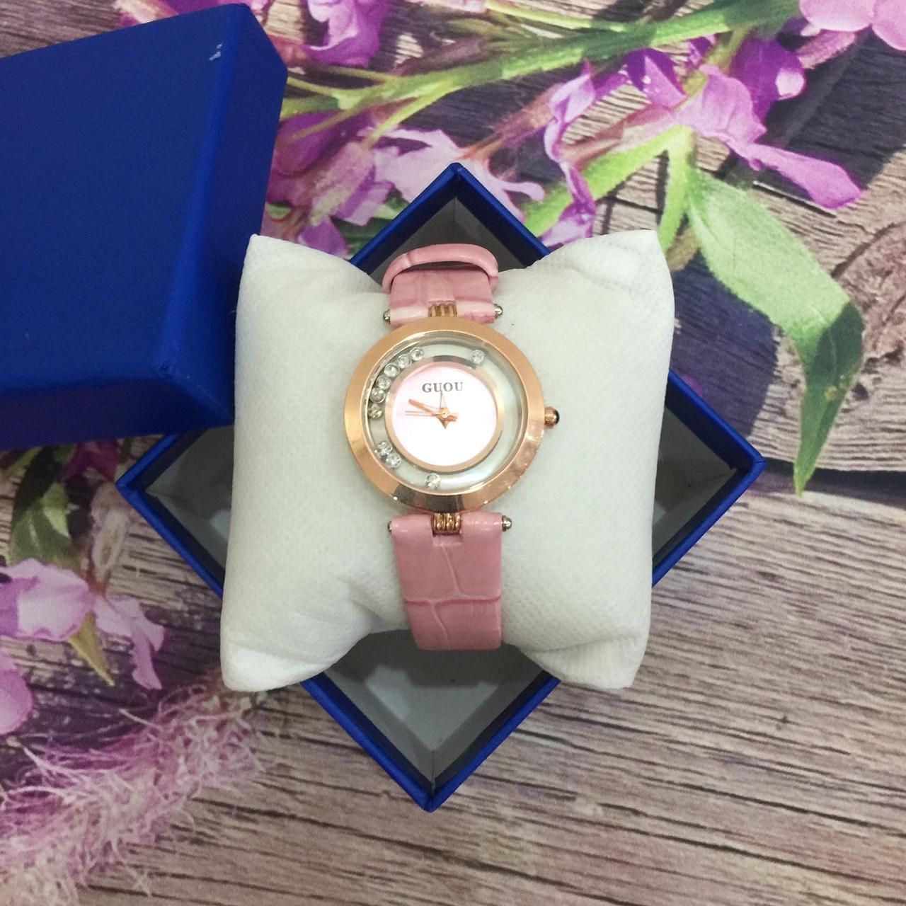 [TẶNG VÒNG TAY KHI MUA] Đồng hồ nữ GUOU chất liệu dây da mặt đá lăn thời thượng G44-2 bán chạy
