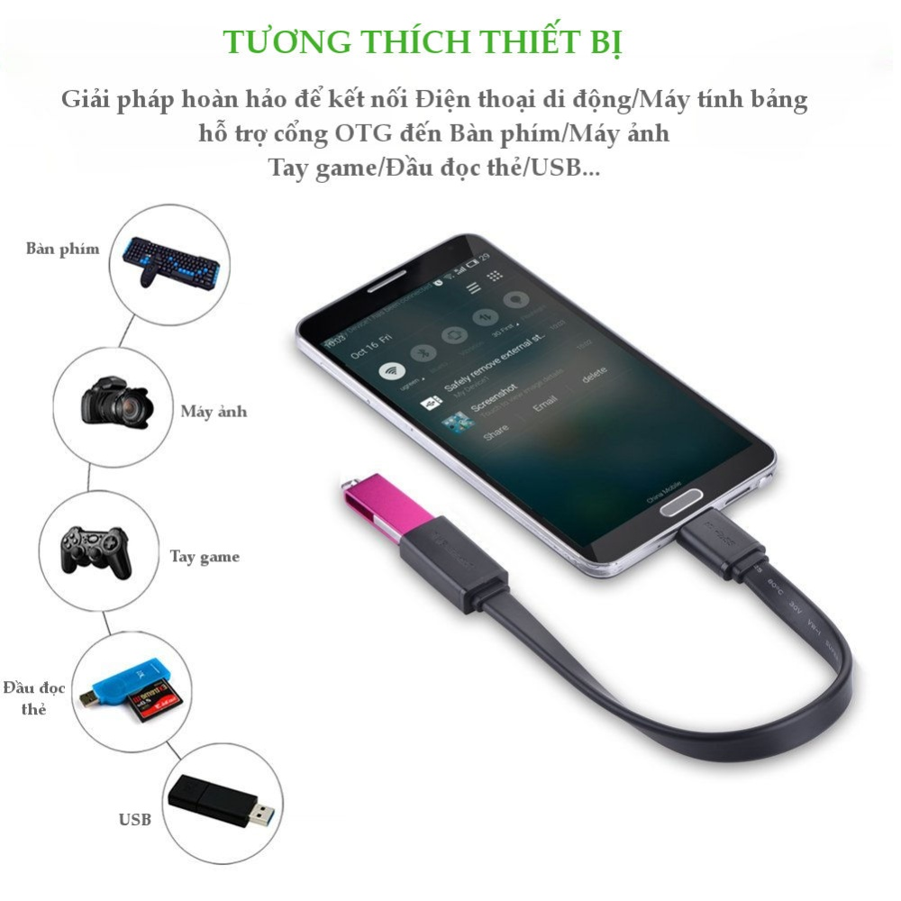 Dây Micro USB 3.0 B OTG sang USB 3.0 dạng dẹt cho Samsung Note 3/S5/I9600/G900... dài 20CM UGREEN US127
