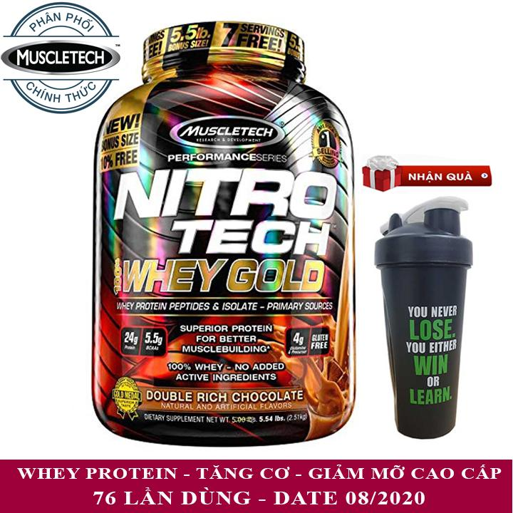Sữa tăng cơ Nitro Tech 100% Whey Gold của Muscle tech hương socola hộp 76 lần dùng - phân phối chính thức