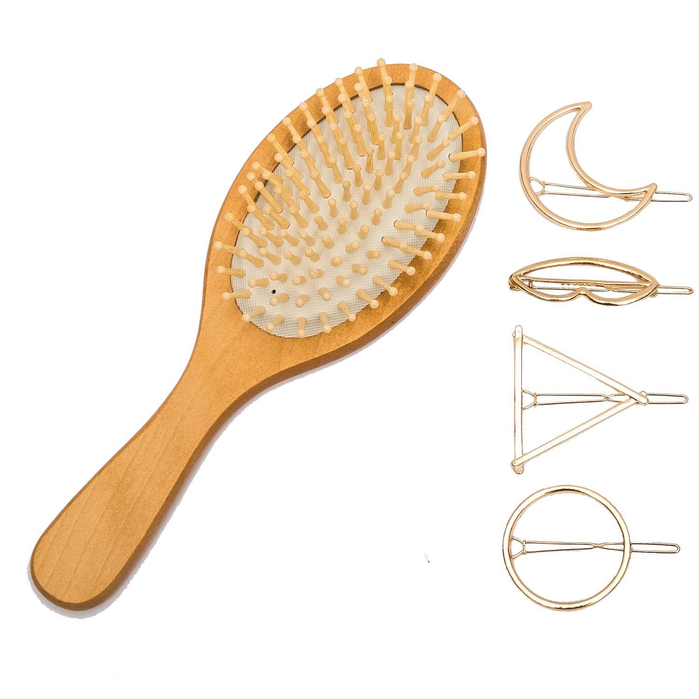 Combo lược gỗ chải tóc ướt, gỡ rối, massage + Tặng 04 kẹp tóc nữ cao cấp nhập khẩu