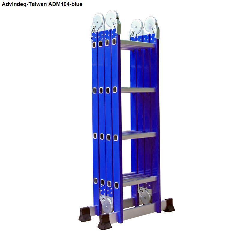 Thang nhôm gấp 4 đoạn Advindeq ADM104 Blue Xanh (12 tư thế sử dụng cao chữ A: 2.26m, cao chữ I 4.64m)