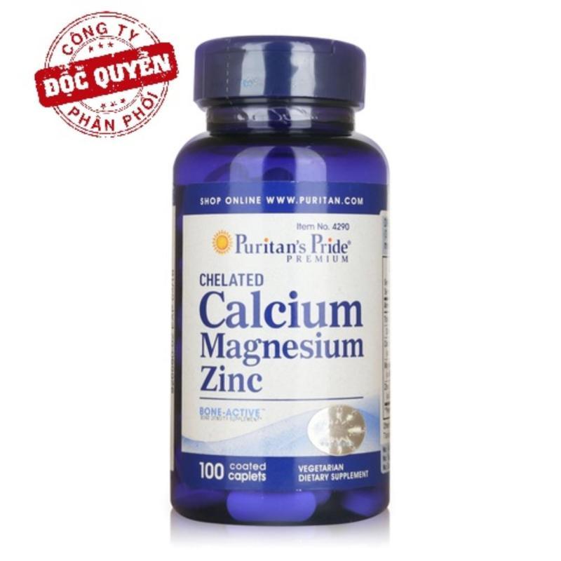 Viên uống cải thiện chiều cao, hỗ trợ xương Puritans Pride Chelated Calcium, Magnesium & Zinc 100 viên HSD tháng 1/2020 nhập khẩu