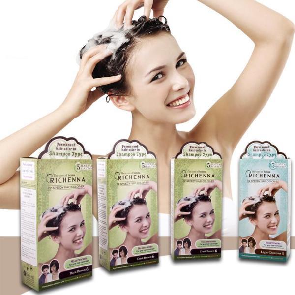 Bộ 5 hộp thuốc nhuộm tóc phủ bạc thảo dược dạng dầu gội Richenna EZ Speedy Hair Color-EX Hàn Quốc màu nâu đen