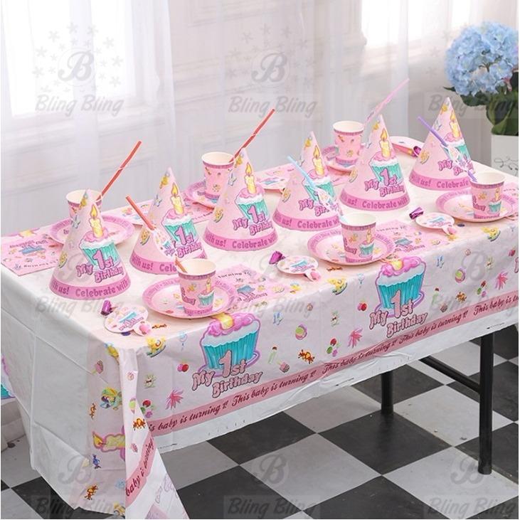 Hình ảnh Bộ phụ kiện trang trí bàn tiệc, sinh nhật cho 6 người chủ đề MY 1ST PINK - BlingBling