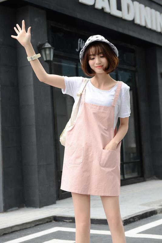 Váy Yếm Kaki Nữ Hai Dây Phối Túi Dễ Thương Skypiea WM YEM 800001