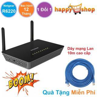 Bộ phát sóng Wifi router Tốc độ mạng cực cao NETGEAR R6220 Chuẩn AC 1200 Mbps Bảo hành 12 tháng 1 Đổi 1 Tặng kèm Dây Mạng Lan chất lượng cao dài 10m thumbnail