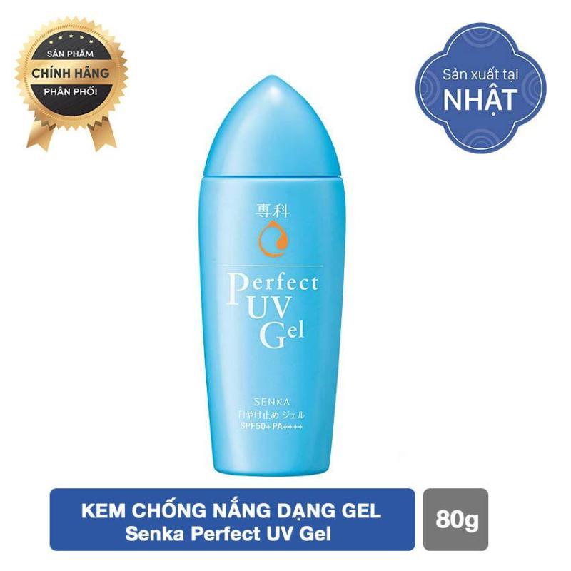 Kem chống nắng dạng gel chiết xuất tơ tằm trắng Senka Perfect UV Gel 80g nhập khẩu