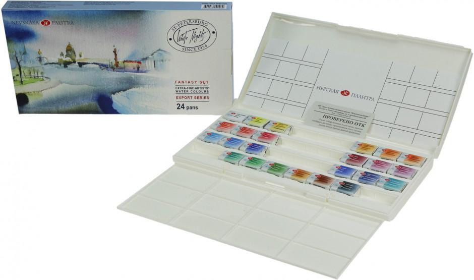 Mua Bộ màu nước White nights, hạng họa sỹ, 24 màu, Fantasy, hộp nhựa