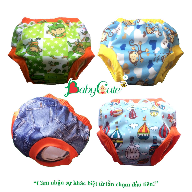 Combo 4 bộ tã vải Quần short đêm BabyCute size M (8-16kg) (4 vỏ + 4 lót)