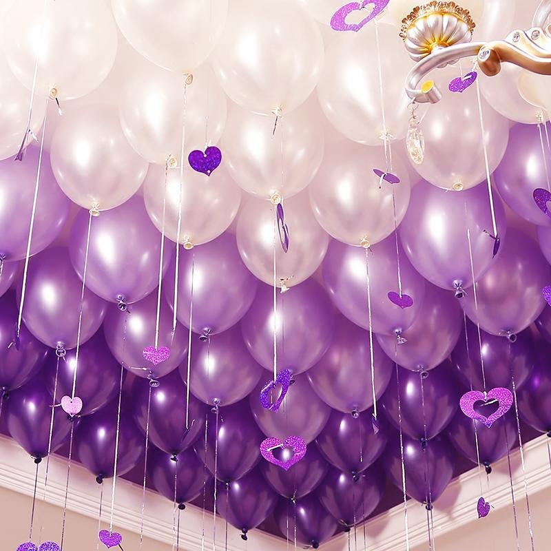 Hình ảnh Bộ 100 vỏ bóng màu tím nhũ và bạc, bóng bay trang trí phòng cưới