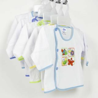 Bộ 5 áo sơ sinh dài tay Bosini màu trắng cúc lệch cho bé từ 0-12 tháng thumbnail