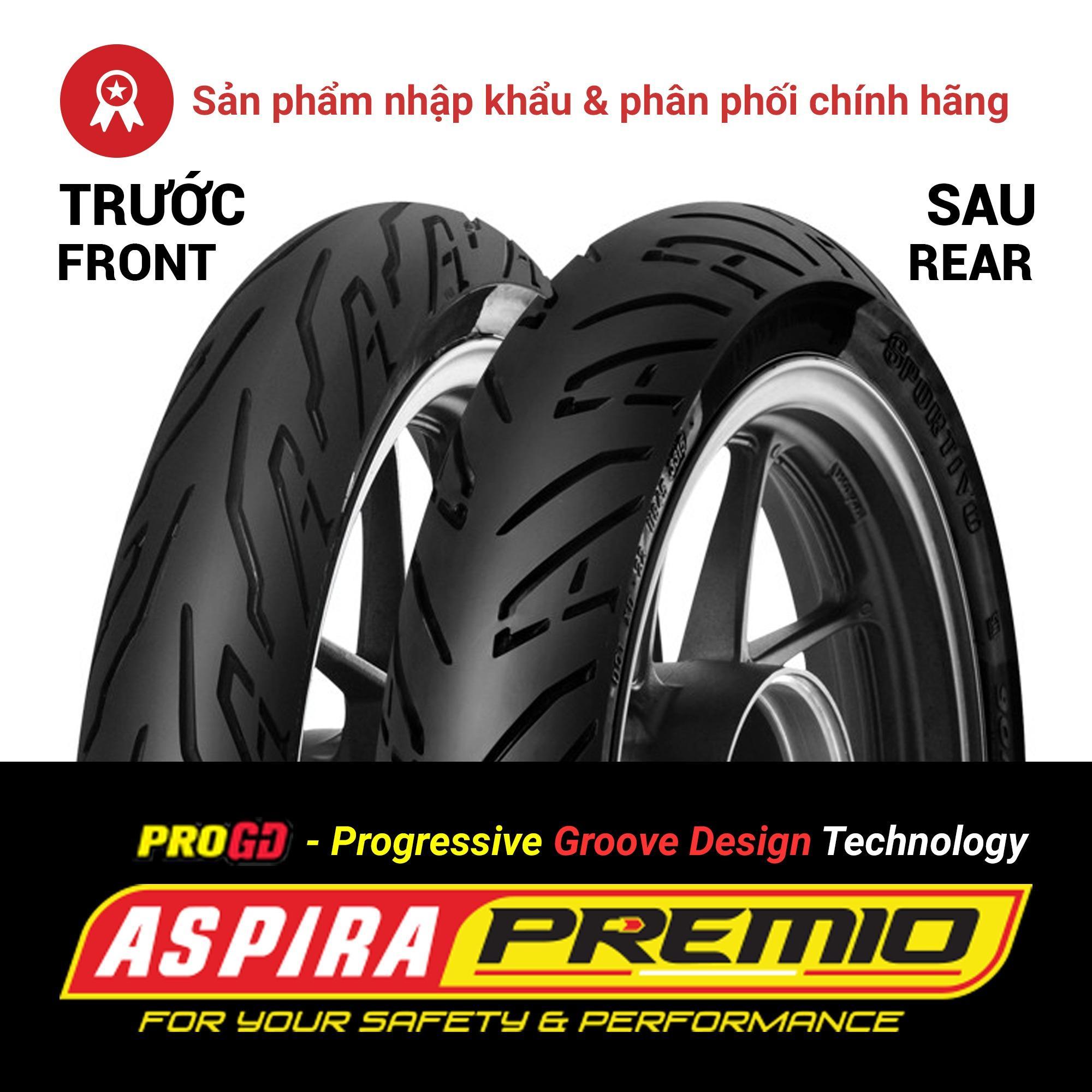 Thay cặp lốp (vỏ) trước 70/90-17 TL + sau 80/90-17 TL Aspira Premio Sportivo chính hãng cho các dòng xe máy Honda Wave RS/RSX, Future, Blade, Yamaha Sirius, Jupiter, Exciter 125 - Combo 02 lốp (vỏ)
