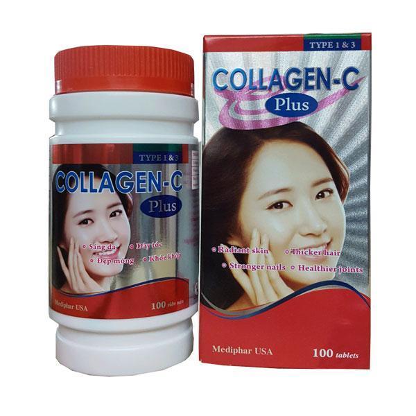 Viên uống hỗ trợ làm đẹp Collagen-C Plus 100 viên nén - Mediphar Usa sản xuất chuẩn GMP nhập khẩu