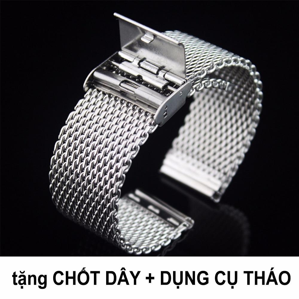 Bán Mua Day Đồng Hồ Thep Lưới Cao Cấp Strap Co Day Mesh Khong Gỉ Loại Mắt To Cực Bền Va Chắc Size 18Mm Hồ Chí Minh