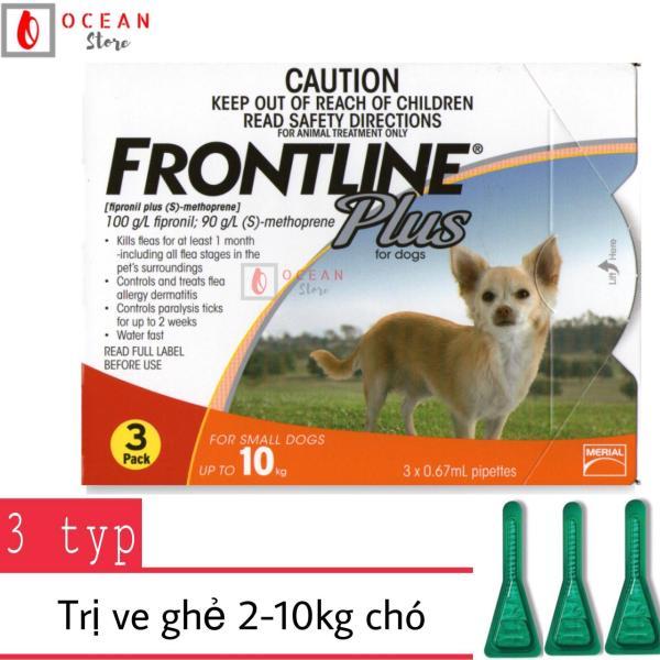 Thuốc nhỏ gáy trị ve ghẻ, bọ chét cho chó - Hộp 3 ống Frontline Plus chó 2-10kg (boxes 3 tube 2-10kg)