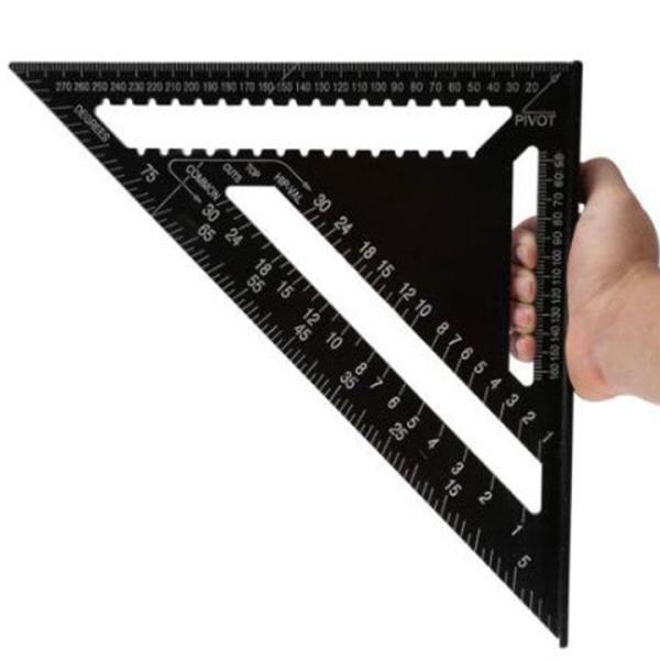 Thước tam giác ke góc vuông bằng hợp kim nhôm màu đen loại 30cm