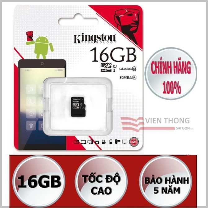 Thẻ nhớ 16GB Kingston up to 80mb/s SDHC C10 UHS-I SDC10G2/16GBFR