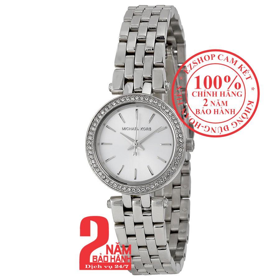 Đồng hồ nữ Michael Kors MK3294, vỏ và dây màu Bạc (Silver), mặt màu Bạc (Silver), Viền đá pha lê Swarovski, size 26mm bán chạy