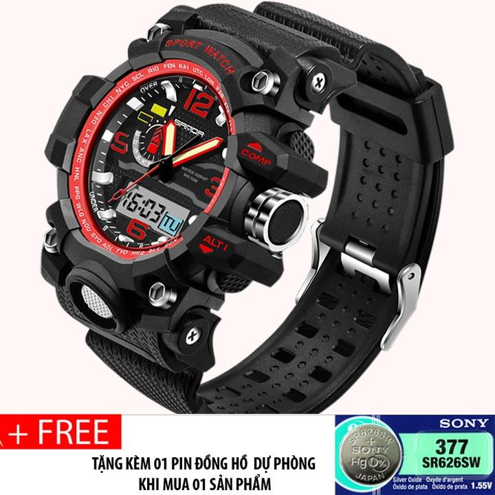 Đồng hồ thể thao nam đa chức năng, phong cách quân đội SANDA S732 (black-red) + Tặng pin đồng hồ dự phòng SONY 377